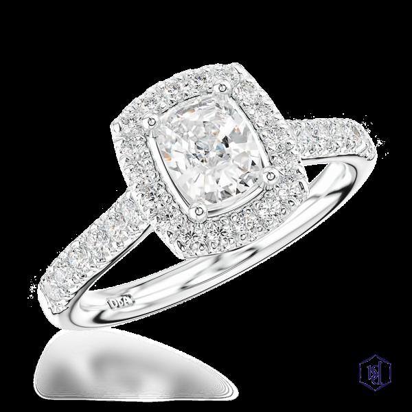 cushion cut platinum cluster diamond band