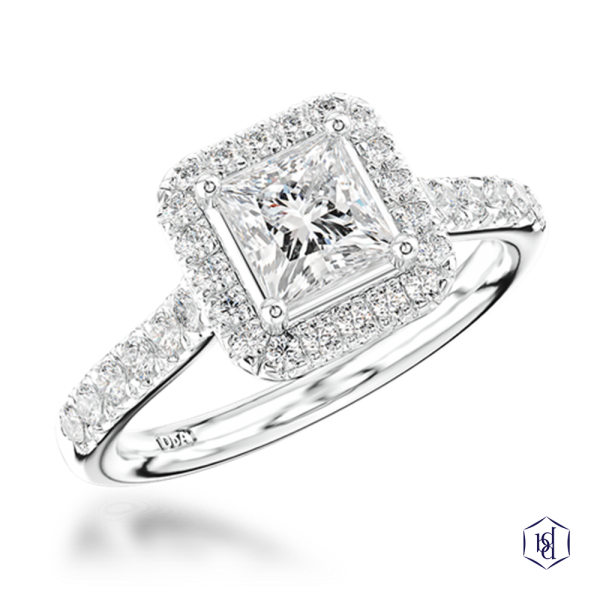 cushion cut platinum cluster diamond band