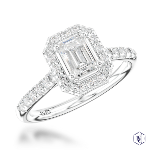 emerald cut platinum cluster diamond band