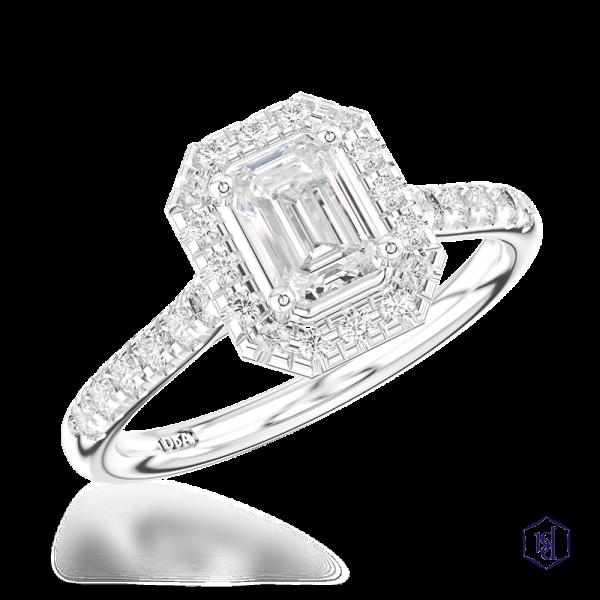 emerald cut platinum cluster diamond band