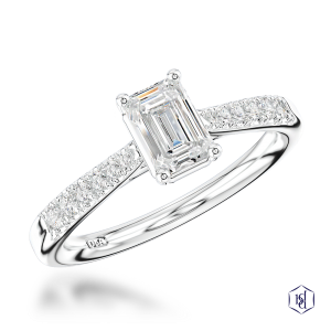 emerald cut platinum solitaire diamond band