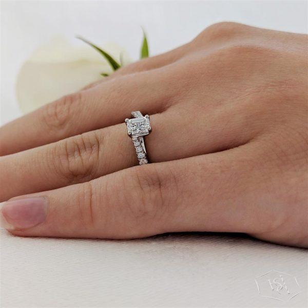emerald cut platinum solitaire diamond band