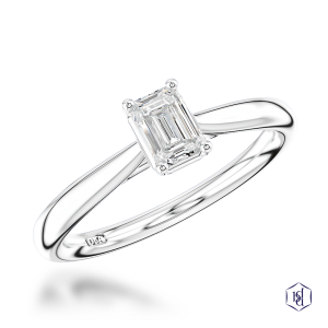 emerald cut platinum solitaire plain band