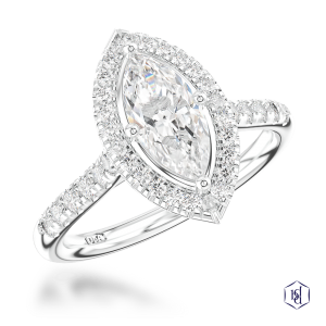 marquise cut platinum cluster diamond band