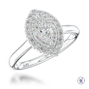 marquise cut platinum cluster plain band
