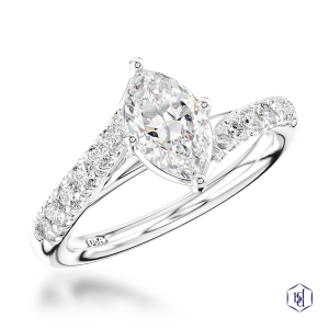 marquise cut platinum solitaire diamond band
