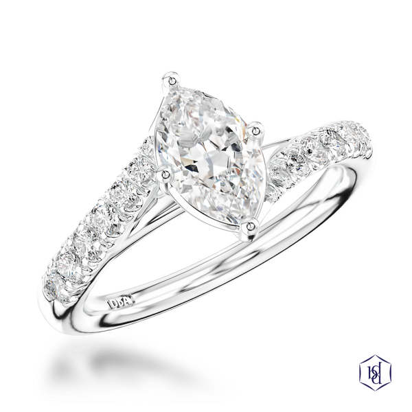 marquise cut platinum solitaire diamond band