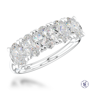oval cut platinum bridal plain band