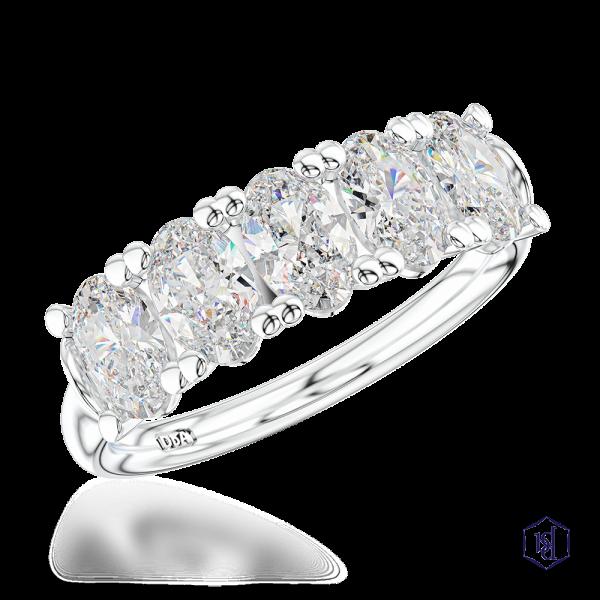oval cut platinum bridal plain band