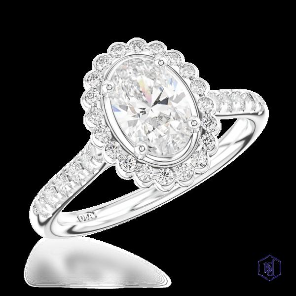 oval cut platinum cluster diamond band