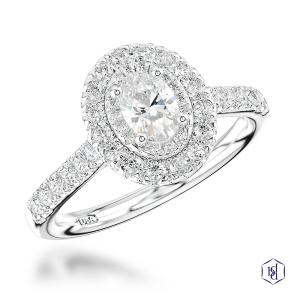 oval cut platinum cluster diamond band