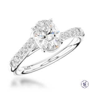oval cut platinum solitaire diamond band
