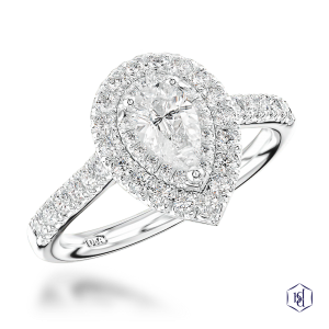 pear shape cut platinum cluster diamond band
