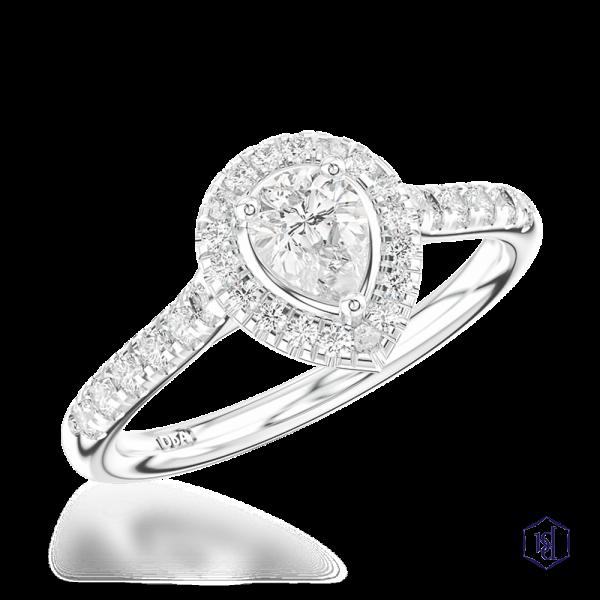 pear shape cut platinum cluster diamond band
