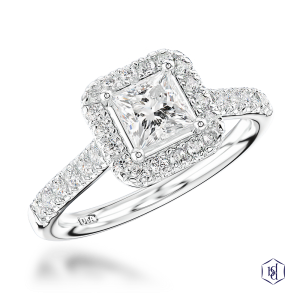 princess cut platinum cluster diamond band
