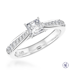 princess cut platinum solitaire diamond band