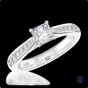 princess cut platinum solitaire diamond band