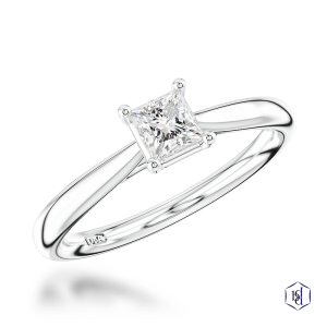 princess cut platinum solitaire plain band