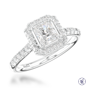 radiant cut platinum cluster diamond band
