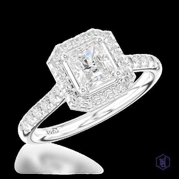 radiant cut platinum cluster diamond band