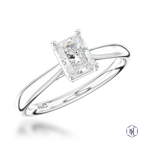 radiant cut platinum solitaire plain band