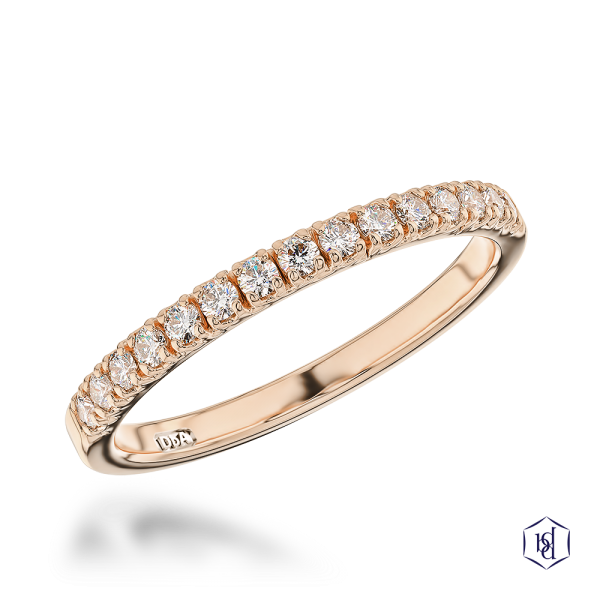 round brilliant cut 18ct rose gold bridal diamond band
