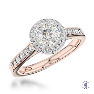 round brilliant cut 18ct rose gold shank and platinum head cluster diamond band
