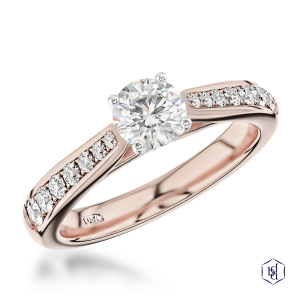 round brilliant cut 18ct rose gold shank and platinum head solitaire diamond band