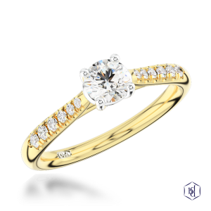round brilliant cut 18ct yellow gold shank and platinum head solitaire diamond band