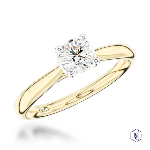 round brilliant cut 18ct yellow gold shank and platinum head solitaire plain band