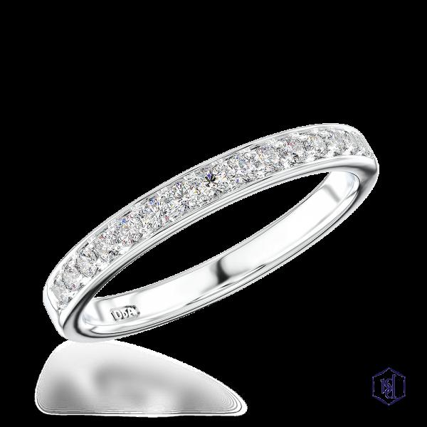 round brilliant cut platinum bridal diamond band