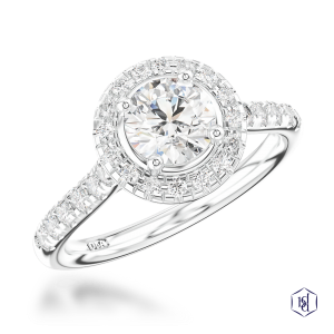 round brilliant cut platinum cluster diamond band
