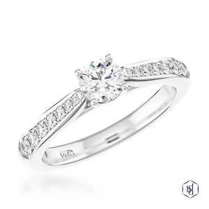 round brilliant cut platinum solitaire diamond band