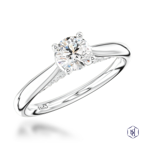 round brilliant cut platinum solitaire plain band