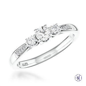 round brilliant cut platinum three stone diamond band
