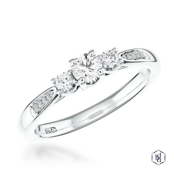 round brilliant cut platinum three stone diamond band